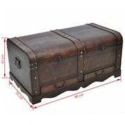 Wooden Vintage Style Trunk Treasure Chest Storage Box Large Gold Case Brown