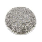5and0391x5and0391 Textured Wool And Silk Mughal Inspired Round Hand Knotted Rug R66718