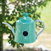 Green Tea Pot Shaped Birdhouse French Country Cottage Metal Hanging Bird House