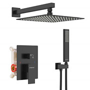 Black Shower System 12 Inch Mount Shower Faucet Set With Square Rain Shower Head