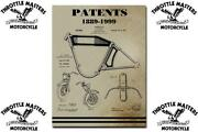 Engine Patents Book Log For Harley Motorcycle Parts From Vintage 1889-1999