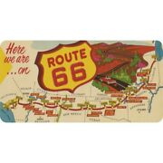 Here We Are On Route 66 Map Logo License Plate Made In Usa