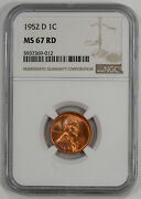 1952 D Lincoln Wheat Cent Penny 1c Ngc Certified Ms 67 Rd Mint Unc Red 012