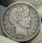 1903-o Barber Quarter 25 Cents. Nice Coin, Free Shipping 256