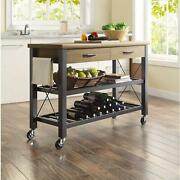 Kitchen Cart With Metal Shelves And Tv Stand Feature Multi Functional Brown