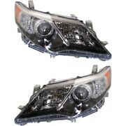 Headlight Set For 2012-2014 Toyota Camry Left And Right Black Housing Hid 2pc