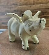 Vintage Cast Iron Flying Pig - Pig With Angel Wings