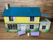 Vintage Original Marx 2 Story Ranch Style Tin Toy Dollhouse With Some Furniture.