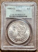 1880-cc Pcgs Ms63 Morgan Silver Dollar Old Green Holder Certified Graded Us Coin