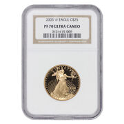 2003-w 25 Eagle Ngc Pf70ucam 1/2 Ounce American Gold Deep Cameo Proof Coin