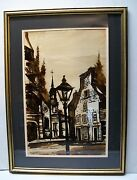 Church Steeple Town Painting Signed Baca Brown Tone Framed Matted Vintage