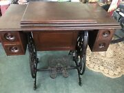 Antique 1880's Wilcox Gibbs Treadle Sewing Machine Wood And Cast Iron Base