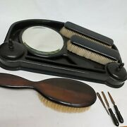 Vanity Dressing Table Set Antique Original Ebony With Tray With Trinket Boxes...