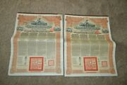 2 Chinese Government Reorganization 5 Gold Loan Of 1913 Andpound20 Bond Coupons China