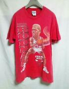 Vintage 90and039s Dennis Rodman Tee T Shirt M Red Pro Player Made In Usa Very Rare