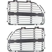 Grille Insert For 2005-2007 Dodge Magnum Set Of 2 Left And Right Silver Plastic