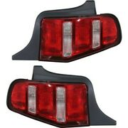 Halogen Tail Light Set For 2010-2012 Ford Mustang Clear And Red Lens 2pcs Capa