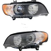 Headlight Set For 2000-2003 Bmw X5 Left And Right Hid With White Turn Signal