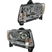 Headlight For 2011-2013 Jeep Compass Pair Driver And Passenger Side Capa