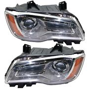 Headlight Set For 2011-2014 Chrysler 300 Left And Right With Bulb Capa 2pc
