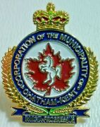 Chatham Kent Ontario Lapel Pin Tie Tack Horse Gold Tone Royal Crown Maple Leaf
