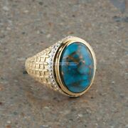 Natural Copper Turquoise Gemstone Gold Plated 925 Sterling Silver Mens Ring 1791