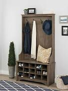 Hall Trees With Bench And Coat Racks Hall Tree With Shoe Storage In Drifted G...