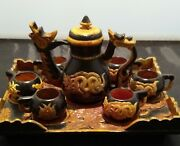 Vintage Hand Carved Soapstone Chinese Dragon 8 Piece Tea Set With Tray