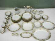 Antique Service 8 + Serving Pieces Noritake Christmas Ball Gold China Dinnerware