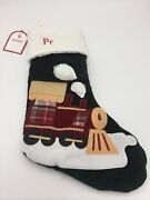"""Pottery Barn Kids Train """"pr"""" Luxe Velvet Stocking Quilted Holiday Christmas Xmas"""