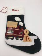 """Pottery Barn Kids Train """"reece"""" Luxe Velvet Stocking Quilted Holiday Christmas"""