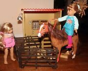American Girl Doll Horse Stable W/ Fence, Accessories Plus My Life Horse, Saddle