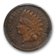 1908 S 1c Indian Head Cent Pcgs Xf 45 Extra Fine To About Uncirculated Key Da...