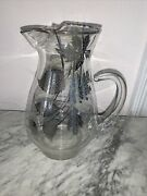 """Vintage Silver Overlay Glass Pitcher With Ice Lip 9"""""""