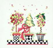 Pink Posies Topiary Trees And Pots Handpainted Needlepoint Canvas Kelly Clark
