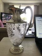 Beautiful 1870 William And George Sissons Silver Etched Ferns On Glass Claret Jug