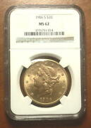 Superb 1906-s Gold 20 Double Eagle Liberty Coin Ngc Ms62