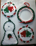 Lot Of 4 Large Vintage Christmas Hand Made Crochet Christmas Decorations