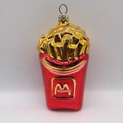 Mcdonalds Glass Ornaments 1997 Large Fries With Silver Glitter Christmas
