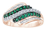 1/2 Ct Green And White Natural Diamond Wave Ring 10k Rose Gold