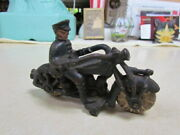 Vintage Hubley Cast Iron Navy Blue Champion Motorcycle Cop With Cracked Wheels