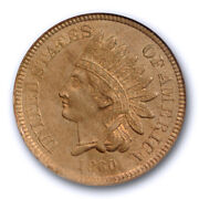 1860 1c Indian Head Cent Pcgs Ms 63 Uncirculated Copper Nickel Us Type Coin O...