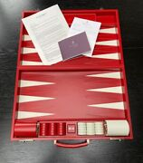 Asprey - Hangover Large Backgammon In Saddle Leather Red. Never Been Used