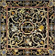 Black Dining Table Tops Marble Fine Inlay Floral Abd Scagliola Home Decor H5144