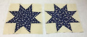 Two Antique Vintage Quilt Blocks, Stars, Anchor Print, Floral, Navy Blue And Beige