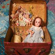 Rare One-of-a-kind French Antique Mignonnette Bisque Doll With Trunk From Japan