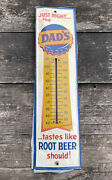 """Vintage Dad's Root Beer Tin Embossed Thermometer Sign 27"""""""