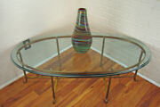 Italian Neo-classical Regency Hoof Footed Oval Brass And Glass Cocktail Table