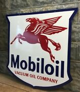 Mobiloil Vacuum Oil Company Metal Porcelain Advertising Sign, 2 Sided Oil Gas,