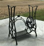 Treadle Sewing Machine, Cast Iron Base, Industrial Age, Singer Steampunk On,